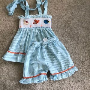 Other - Finding dory smocked striped blue shorts set